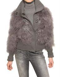 Dolce & Gabbana | Gray Mongolia Fur & Wool Knit Bomber Sweater | Lyst