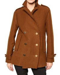 Lanvin | Brown Raw Edge Peacoat | Lyst