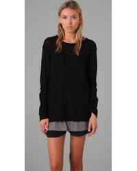T By Alexander Wang Black Loose Knit Pullover