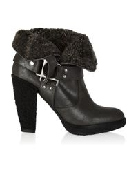 Belle By Sigerson Morrison - Gray Shearling-lined Suede Ankle Boots - Lyst