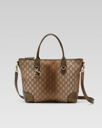 Gucci - Brown Heart Bit Medium Top Handle Bag - Lyst