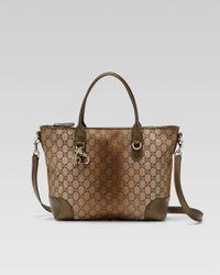 Gucci | Brown Heart Bit Medium Top Handle Bag | Lyst