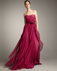 Notte by Marchesa | Red Strapless Full-skirt Gown | Lyst