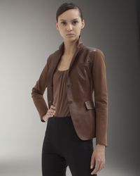 Akris | Brown Jersey-sleeve Leather Jacket | Lyst