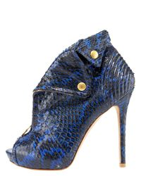 Alexander McQueen - Blue Snake Biker Jacket Bootie - Lyst
