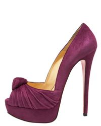 Christian Louboutin Pink Jenny Knotted Platform Pump, Suede