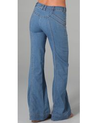 Free People - Blue Super 70s Wideleg Jean - Lyst