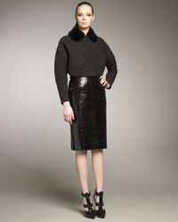 Marc Jacobs - Brown Crocodile-embossed Leather Skirt - Lyst