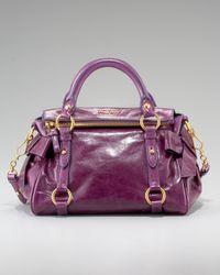 Miu Miu Purple Mini Vitellow Lux Bow Bag, Eggplant