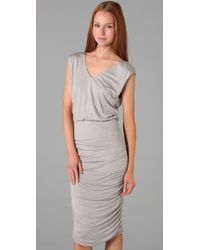 Alice + Olivia - Gray Mid Length Ruched Dress - Lyst