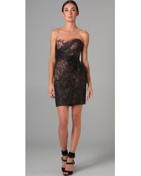 Marchesa | Black Sweetheart Dress with Tulle Overlay | Lyst