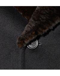Burberry Prorsum Black Fur Collar Wool Coat for men