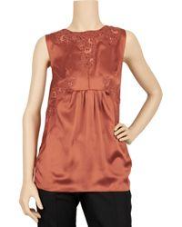 Dolce & Gabbana Orange Lace-trimmed Silk-blend Top