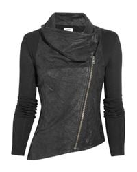 Helmut Lang | Black Cracked-leather and Jersey Jacket | Lyst