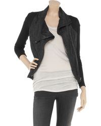 Helmut Lang - Black Cracked-leather and Jersey Jacket - Lyst