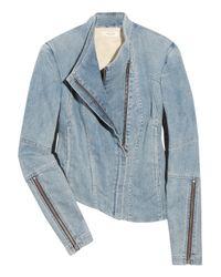 Helmut Lang | Blue Asymmetric Stretch-denim Jacket | Lyst