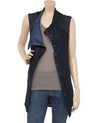 Helmut Lang Blue Chambray-paneled Jersey Vest