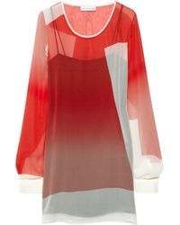 Jonathan Saunders Red Curzon Silk-georgette Tunic