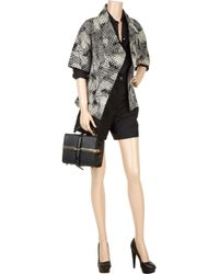 Lela Rose Black Long-sleeve Scroll Guipure Lace Jacket