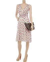 Luisa Beccaria | Pink Floral-print Plissé Silk-chiffon Dress | Lyst