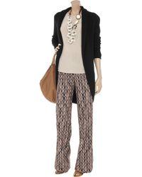 N.Peal Cashmere Black Basket-weave Cashmere Cardigan