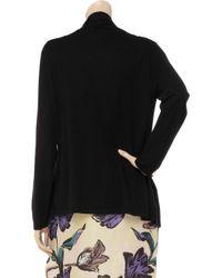 N.Peal Cashmere Black Draped Cashmere-blend Cardigan