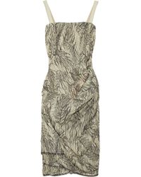 Ports 1961 - Green Printed Draped Cocktail Dress - Lyst