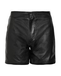 Sara Berman - Black Stud-detailed Leather Shorts - Lyst