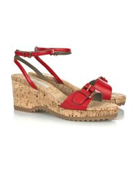 Stella McCartney | Red Cork Wedge Sandal | Lyst