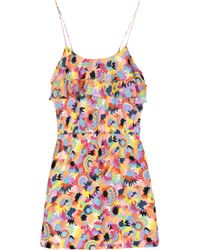 Tibi Pink Daisy Printed Silk Playsuit