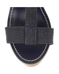 Tory Burch | Blue Beckett Denim Wooden Wedge Sandals | Lyst