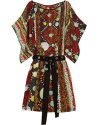 Vivienne Tam Red Printed Silk-charmeuse Kaftan