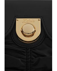 Z Spoke by Zac Posen Black Ruched Leather Shoulder Clutch