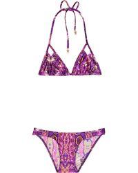 Zimmermann - Purple Printed Triangle Bikini - Lyst