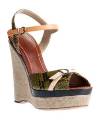 Barbara Bui | Green Python Wedge Sandal | Lyst