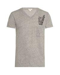 DIESEL | Gray Feather V-neck T-shirt for Men | Lyst