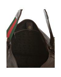 Gucci - Brown Leather Web Stripe Shoulder Bag - Lyst