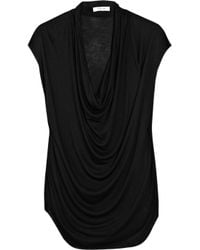 Helmut Lang - Black Draped Jersey Top - Lyst