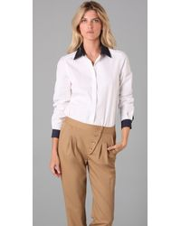 Tibi | White Button Down Bodysuit | Lyst