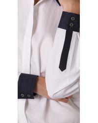 Tibi - White Button Down Bodysuit - Lyst
