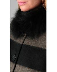 Alice + Olivia - Black Hilda Fur Collar Coat - Lyst