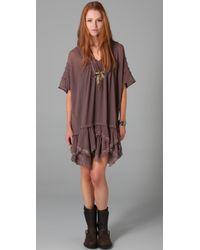 Free People Brown Beaded Beauty Dress