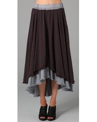 Free People | Brown The Checkered Plaid High Low Maxi Skirt | Lyst