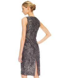 Michael Kors | Gray Astrakhan Brocade Sheath Dress | Lyst