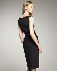 Oscar de la Renta | Black Ruffle-neck Stretch Wool Dress | Lyst