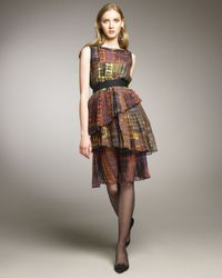 Oscar de la Renta - Multicolor Madras-print Silk Dress - Lyst