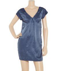 See By Chloé - Blue Star-printed Silk V-back Dress - Lyst