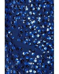 DKNY Blue Sequined Stretch-silk Jacket