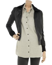 Rag & Bone Black Classic Bomber Suede and Leather Jacket