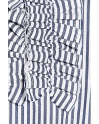 Richard Nicoll Blue Jason Ruffled Cotton Shirt Dress